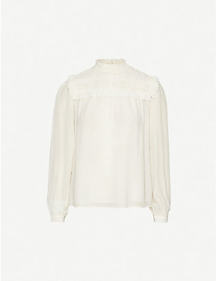 REISS: Anoushka frilled-trim crepe blouse