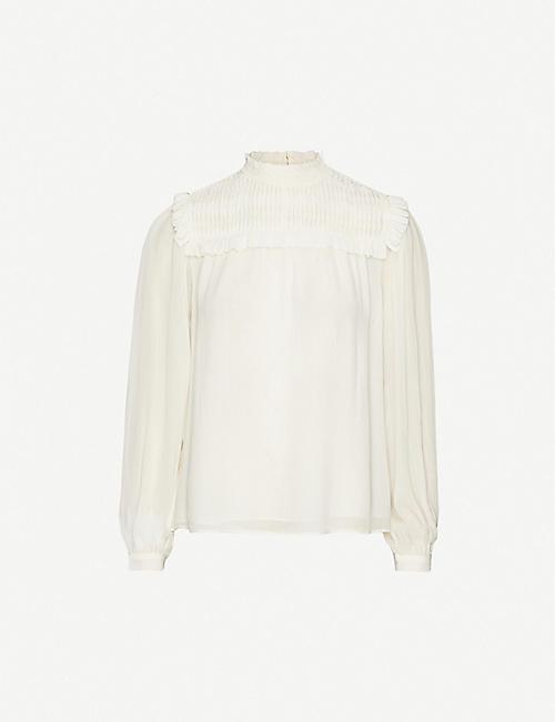 REISS Anoushka frilled-trim crepe blouse