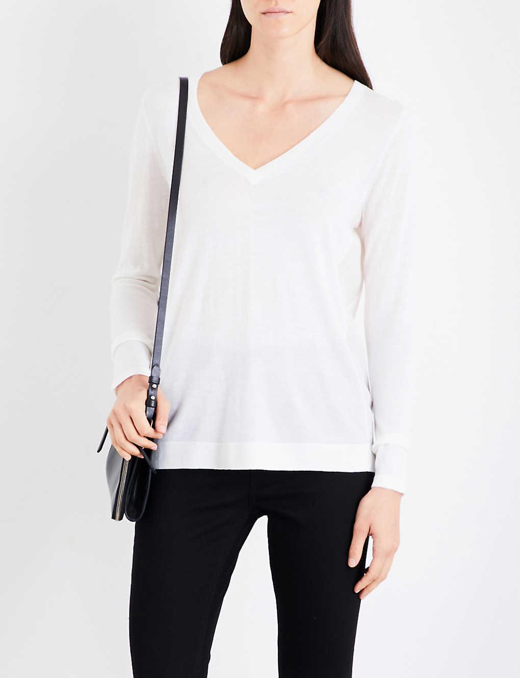 836d67e4 REISS - Sally V-neck wool and silk jumper | Selfridges.com