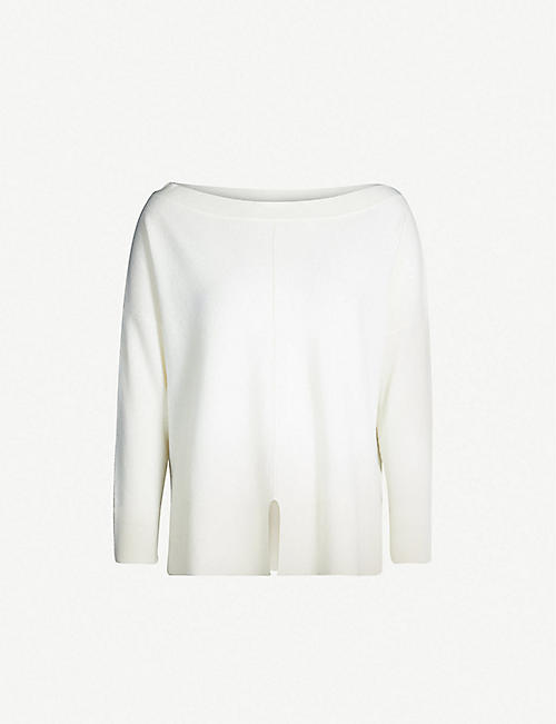 REISS Selina boat-neck wool and cashmere-blend jumper