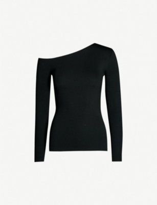 REISS Anisa asymmetric-neck knitted top