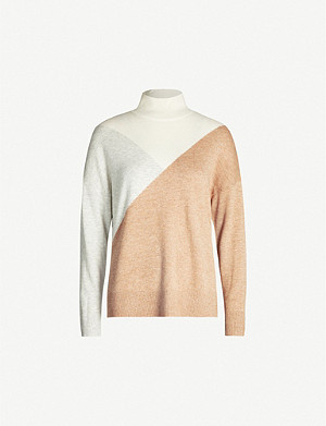 REISS Divinity colour-block turtleneck jumper
