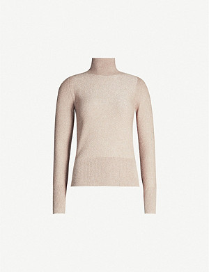 REISS Jemima metallic roll-neck jumper