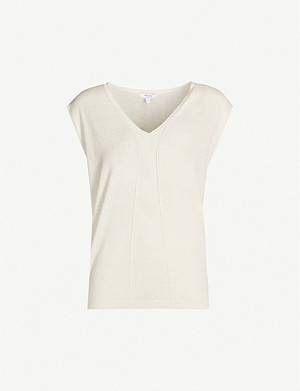 REISS Chris capped-sleeve cashmere and cotton-blend knit top