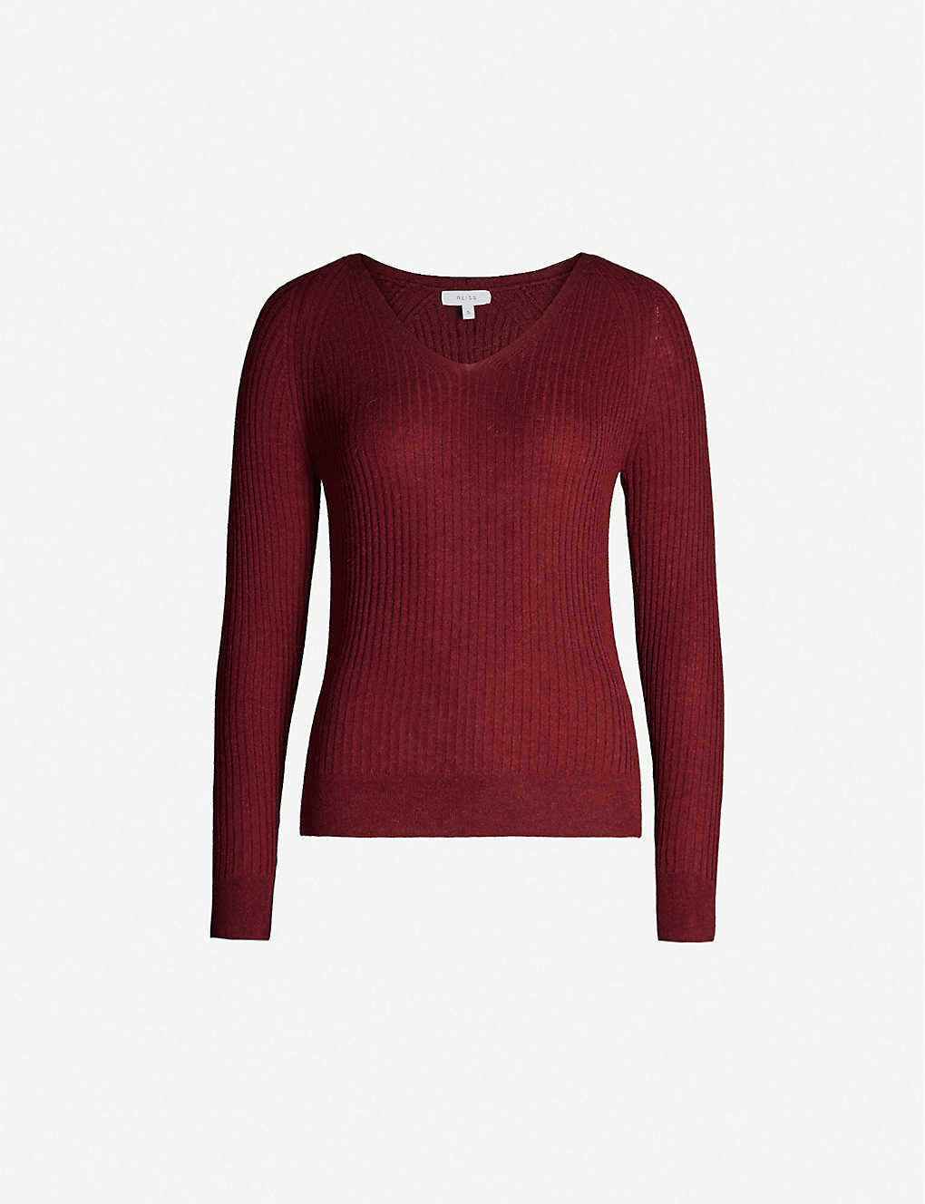 REISS: Elouise V-neck knitted jumper