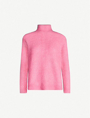 REISS Elsie roll-neck woven jumper