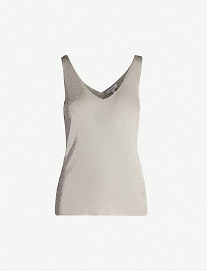 REISS Alexis metallic knitted vest top