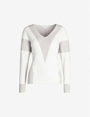 REISS Erica panelled stretch-knit jumper