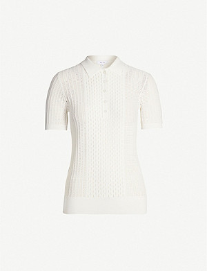 REISS Alma semi-sheer knitted polo top