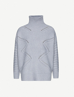 REISS Myla cable-knit wool-and-cashmere-blend jumper
