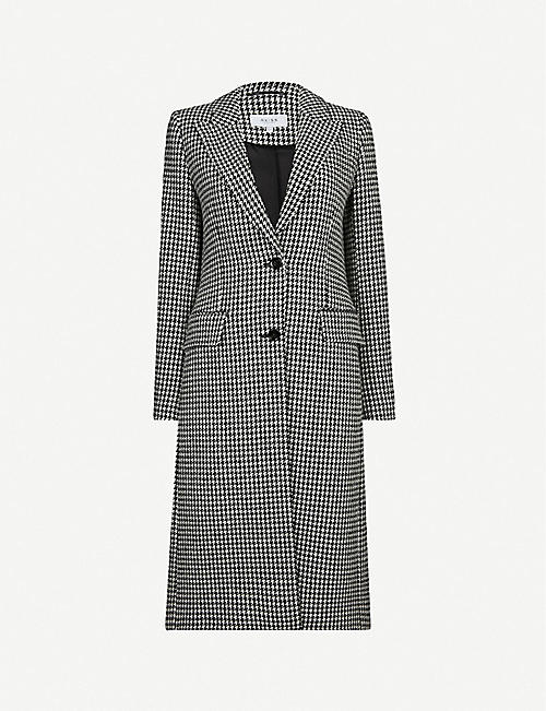 REISS Lara puppytooth-print wool-blend coat