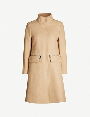 REISS Macey funnel-neck wool-blend coat