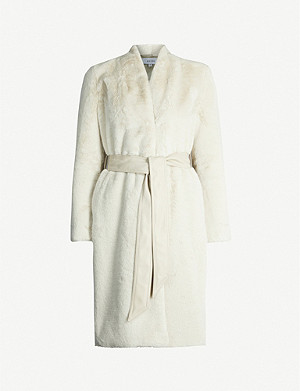 REISS Halle shawl-collar faux-fur coat