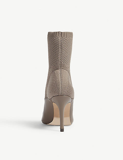 REISS Knitted leather sock boots