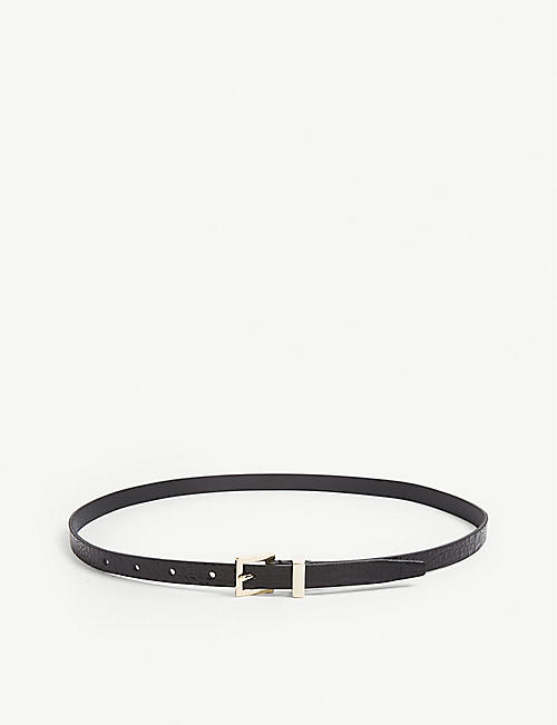 REISS: Olive skinny leather belt