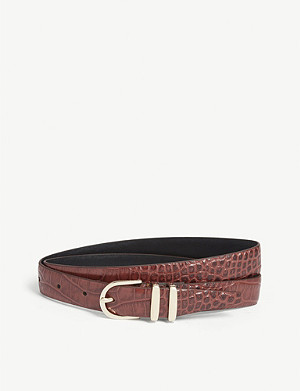 REISS Kia croc-embossed leather belt