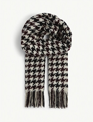 REISS Tori houndstooth wool scarf