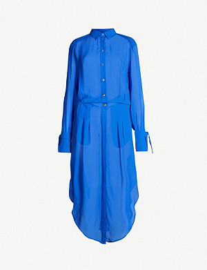 REISS Myla longline crepe shirt dress