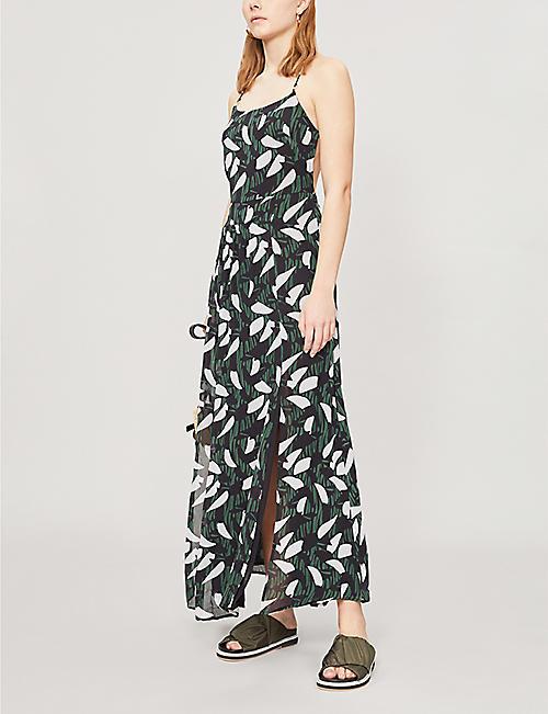 5f091a02ebc REISS Fenna leaf print sleeveless crepe dress