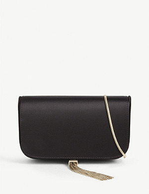 REISS Vienna satin clutch