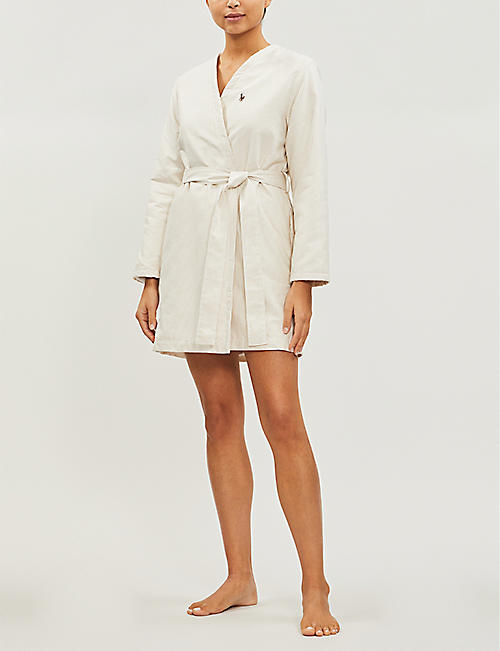 RALPH LAUREN HOME Oxford striped cotton bathrobe