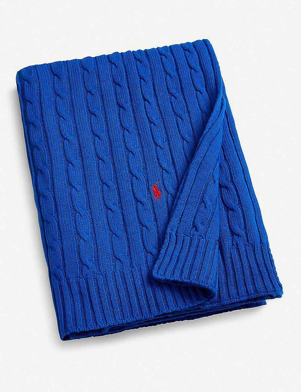 RALPH LAUREN HOME: Logo-embroidered cable-knit cotton throw 177cm x 127cm