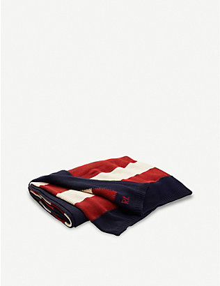 RALPH LAUREN HOME: USA Flag knitted cotton throw 140cm x 180cm