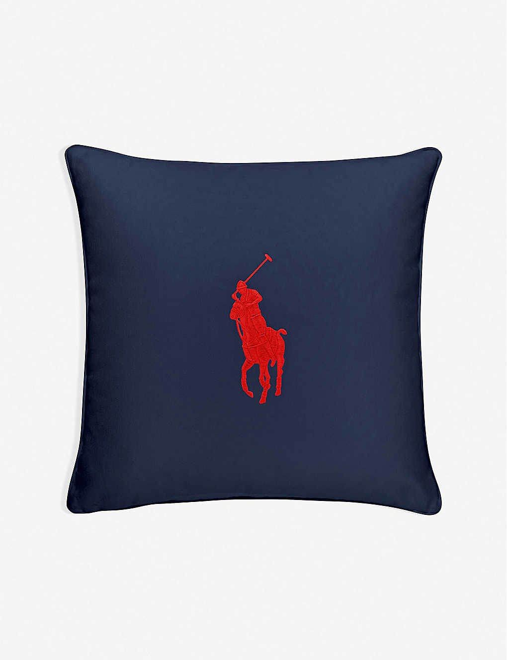 RALPH LAUREN HOME: Pony logo-embroidered cotton cushion cover 50cm x 50cm