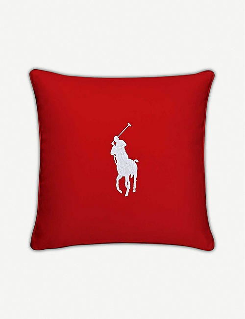 RALPH LAUREN HOME Pony logo-embroidered cotton cushion cover 50cm x 50cm