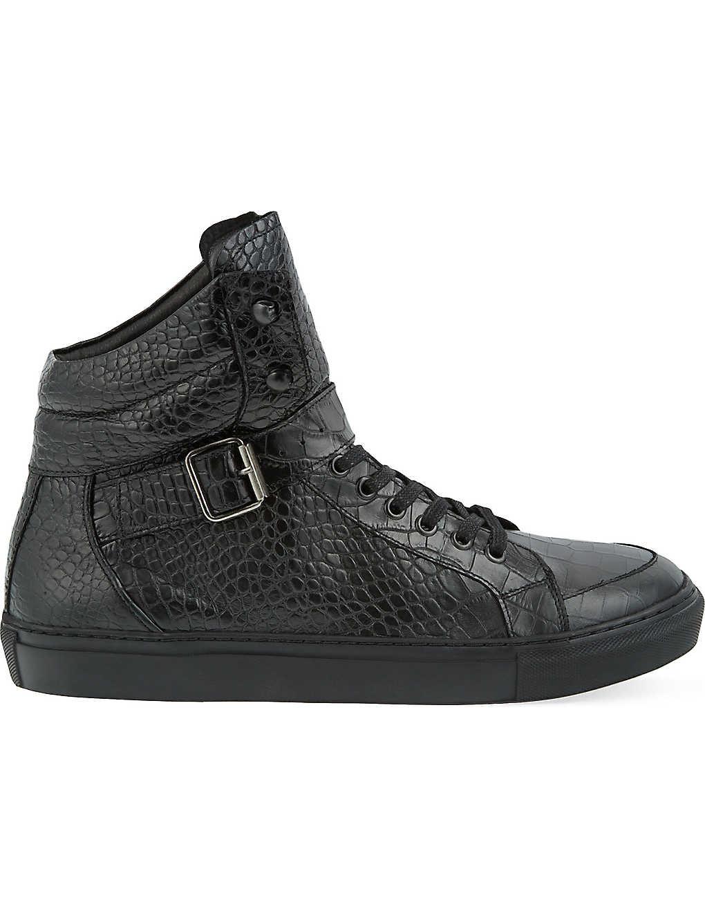 41682530d4 THE KOOPLES - Croc-embossed leather high-top trainers | Selfridges.com