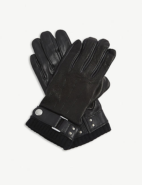 THE KOOPLES Distressed leather and wool gloves