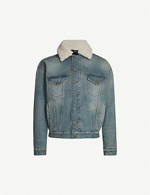 8a0b932058e5 THE KOOPLES Shearling-collar denim jacket