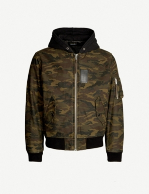THE KOOPLES Camouflage print hooded cotton bomber jacket