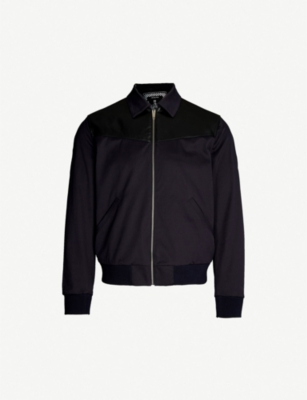 THE KOOPLES Leather-trimmed cotton-blend bomber jackket