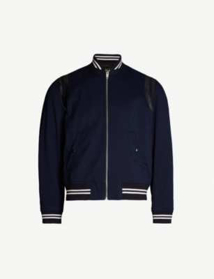 THE KOOPLES Leather-trimmed cotton bomber jacket