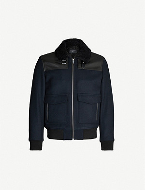 THE KOOPLES Leather trim wool-blend flight jacket