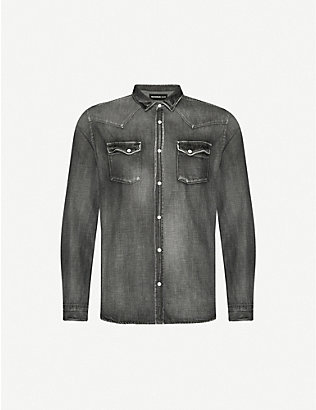 THE KOOPLES: Faded relaxed-fit stretch-denim shirt