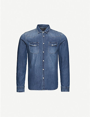 THE KOOPLES: Distressed denim shirt