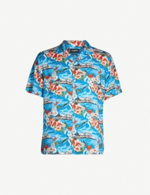 THE KOOPLES Hawaiian floral-print satin shirt
