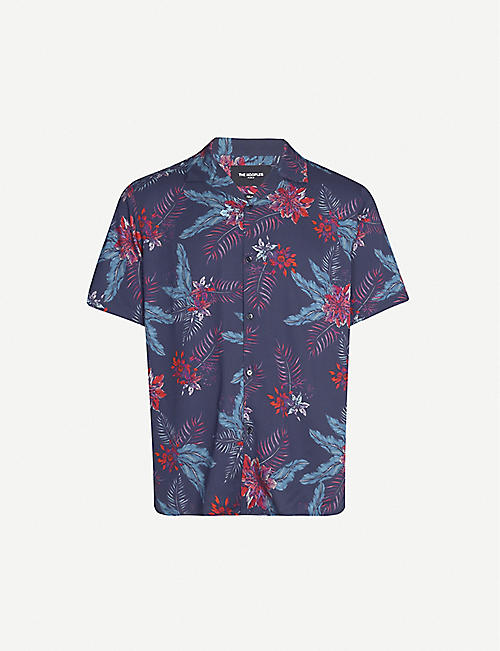 THE KOOPLES Tropical-print relaxed-fit twill shirt