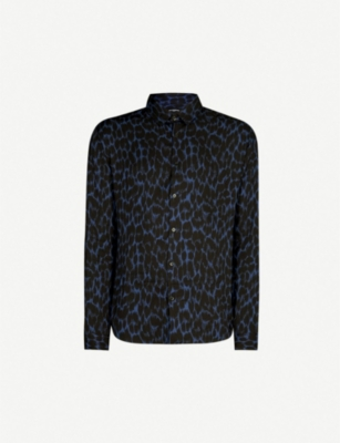 THE KOOPLES Brushstroke-pattern relaxed-fit crepe shirt