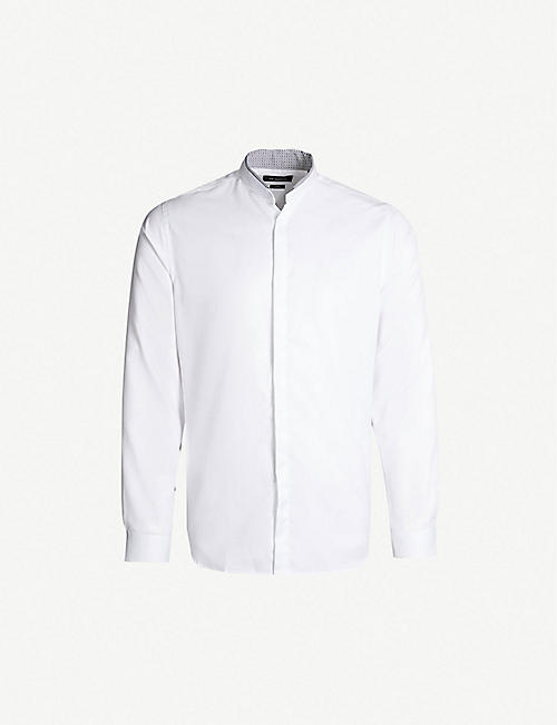 70f6877e THE KOOPLES Contrast-trim slim-fit cotton shirt
