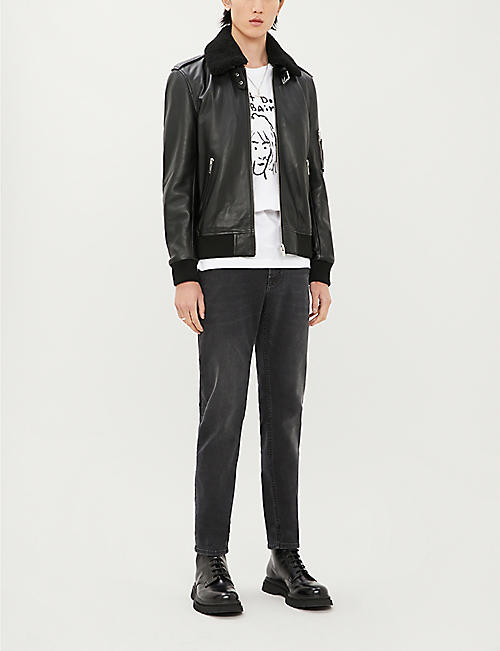 THE KOOPLES Shearling-trimmed leather jacket