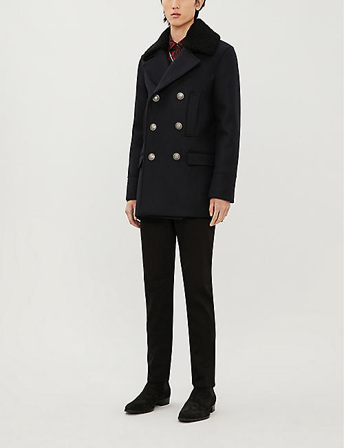 THE KOOPLES Regular-fit double-breasted wool-blend coat