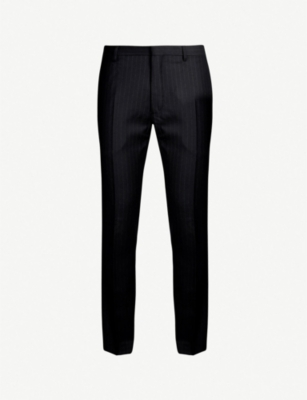 THE KOOPLES Pinstriped slim-fit tapered wool trousers