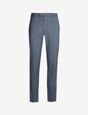 THE KOOPLES Satin-panel slim-fit wool straight-leg trousers