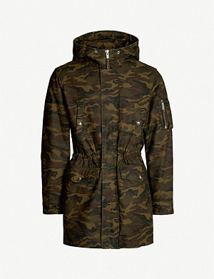 THE KOOPLES Camouflage print cotton-gabardine parka coat