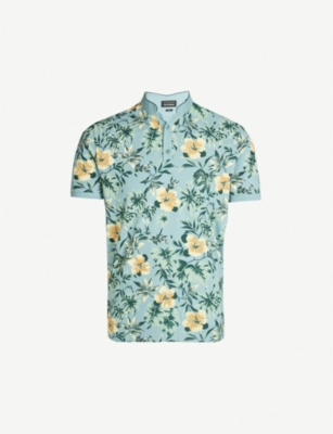 THE KOOPLES Hawaii Wonderland floral print cotton-piqué polo shirt