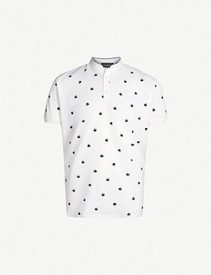 THE KOOPLES Leaf embroidered cotton-piqué polo shirt