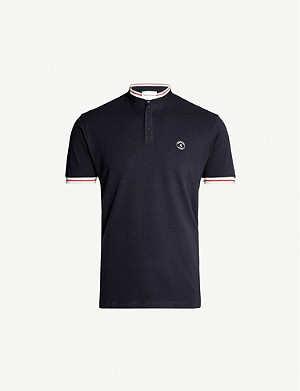 THE KOOPLES Striped-trim marled cotton polo shirt